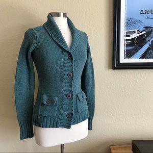 Royal Robbins Teal Wool Blend Cardigan Sweater